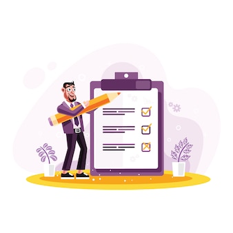 Empresário marcado lista de verificação em um papel de transferência