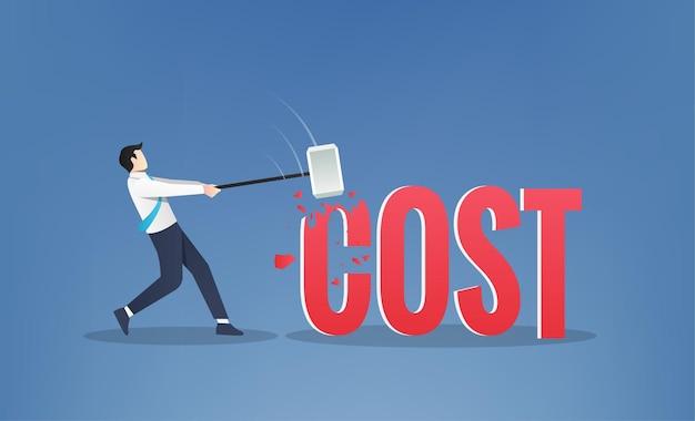 Empresário martelando a ilustração de símbolo de custo de texto. ilustração do conceito de redução de custos