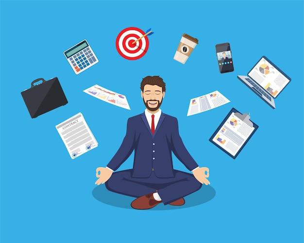 Empresário meditando, gerenciamento de tempo, alívio do estresse e conceitos de resolução de problemas, homem pensando em negócios na posição de lótus.