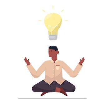 Empresário meditando por uma nova ideia com lâmpada