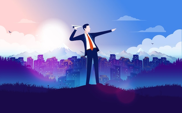 Empresário mirando com avião de papel com uma grande cidade ao fundo