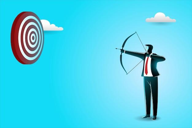 Empresário mirando no alvo com arco e flecha