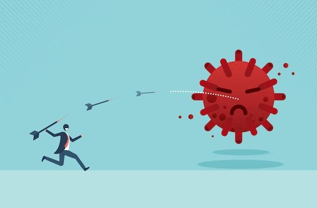 Empresário mirando o alvo com arco e flecha para matar coronavirus ou covid19 devido aos objetivos de negócios