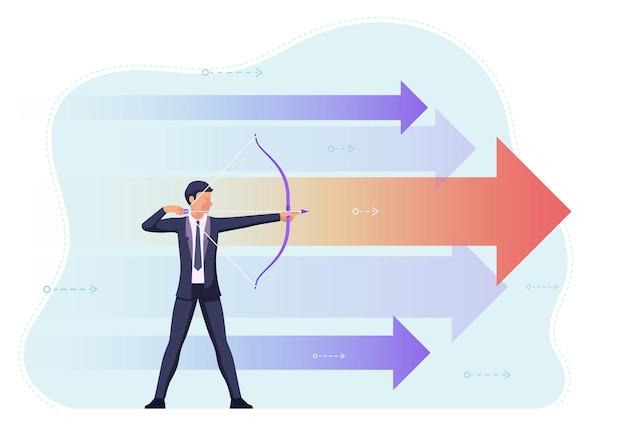 Empresário mirando o alvo com arco e flecha. visão de negócios e conceito de ambição.