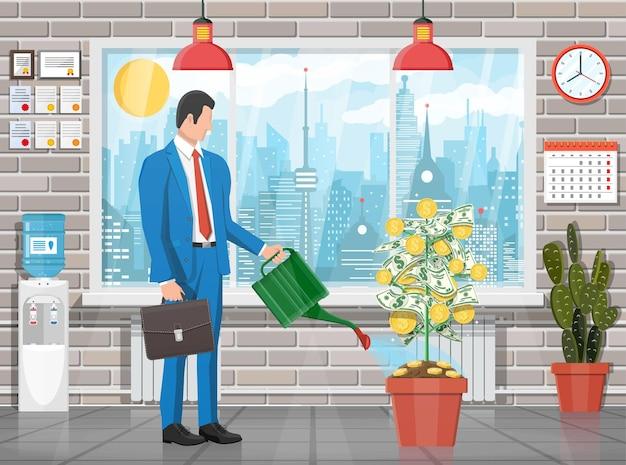 Empresário molhando a árvore de moedas de dinheiro com lata. árvore de dinheiro em crescimento. investimento, investimento. moedas de ouro e notas de dólar em filiais. símbolo de riqueza. sucesso nos negócios. ilustração em vetor plana.