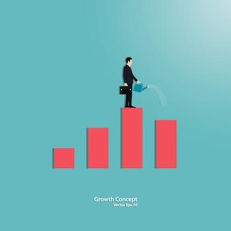 Empresário molhando pequeno gráfico crescente