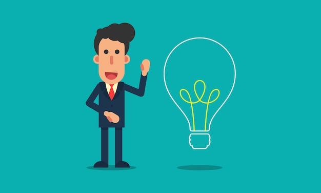 Empresário mostra ideia para o sucesso no design moderno e plano