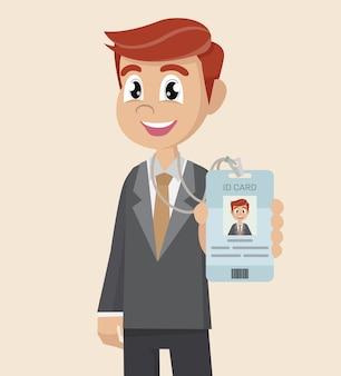 Empresário mostra seu cartão de identificação de distintivo de marca.