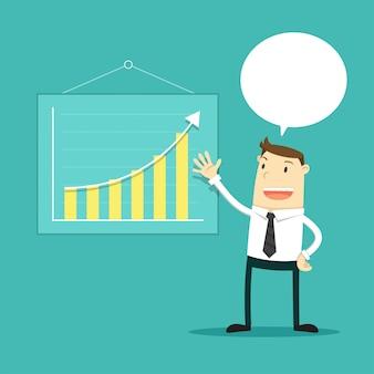 Empresário mostra um plano de negócios. ilustração