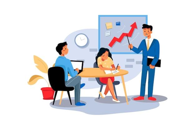 Empresário mostrando o crescimento da empresa para o funcionário