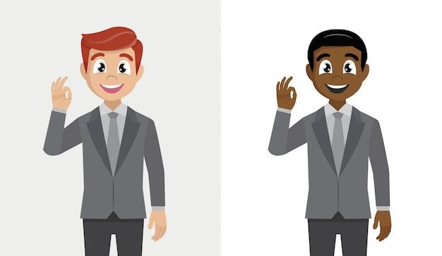 Empresário, mostrando o gesto bem ou ok.