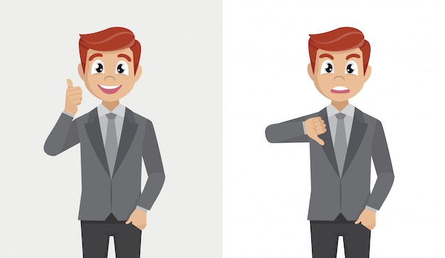 Empresário, mostrando o polegar para cima e o polegar para baixo. gosta e não gosta do conceito de feedback.