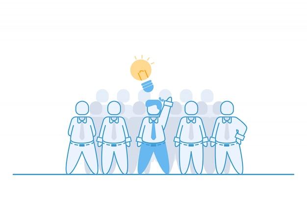 Empresário, mostrando sua ideia