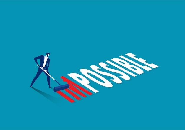 Empresário mudando a palavra impossível para possível com fundo de cor vermelha e azul