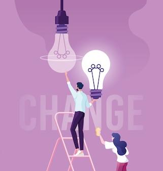 Empresário mudar lâmpada