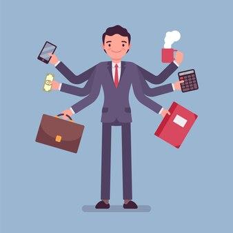 Empresário multitarefa no trabalho