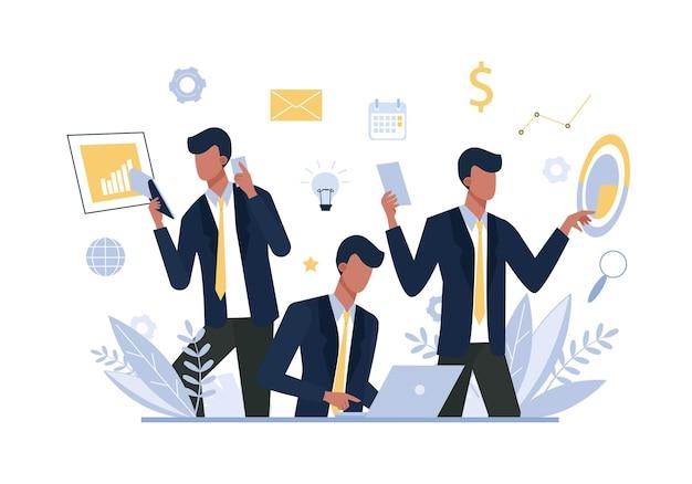 Empresário multitarefa, trabalhador de escritório plana. homem com gadgets, gerente em traje formal de caráter sem rosto.