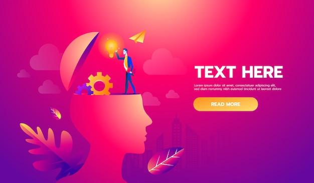 Empresário na cabeça com a ideia do cérebro. arquivo de ilustração. texto e textura em camadas separadas e espaço de cópia.