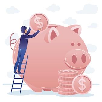 Empresário na escada com moedas e porquinho Vetor Premium