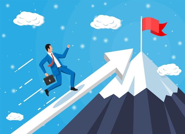 Empresário na escada do gráfico é executado rápido com agitando gravata e pasta. definição de metas. objetivo inteligente. conceito de alvo de negócios. realização e sucesso. ilustração vetorial em estilo simples