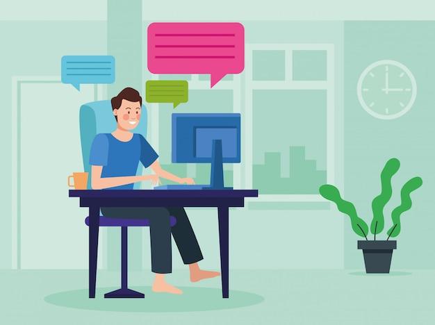 Empresário na reunião de reunião on-line