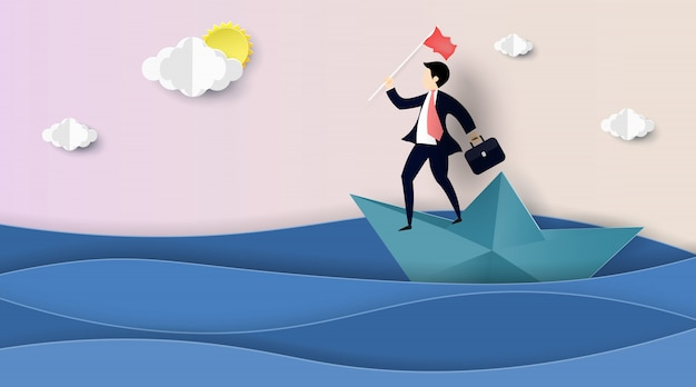 Empresário navegando no barco de papel.