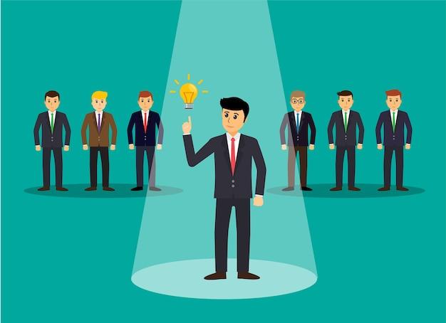 Empresário no centro das atenções isolado no fundo, encontrar um emprego