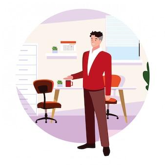 Empresário no escritório de trabalho em branco