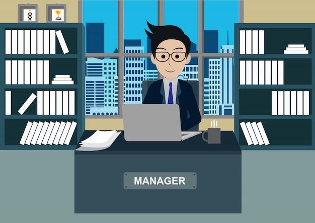 Empresário no escritório sentar nas mesas com notebook, espaço de trabalho com mesa e computador
