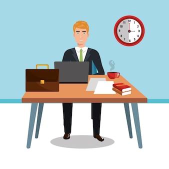 Empresário no espaço de trabalho isolado ícone do design, gráfico de ilustração vetorial