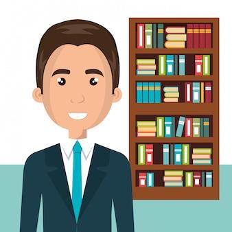 Empresário no personagem avatar de biblioteca