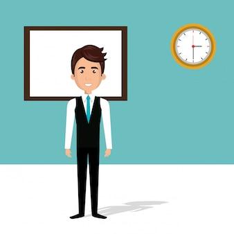 Empresário no personagem de avatar de sala de aula