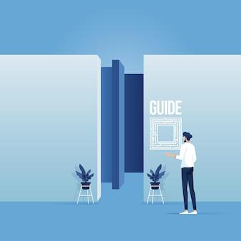 Empresário observando o mapa para encontrar a saída, perdido e confuso no labirinto