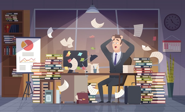 Empresário ocupado. trabalho árduo de gerente de escritório, prazo final de estresse caos conceito interior dos desenhos animados.