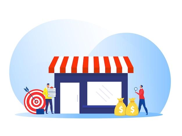 Empresário oferecendo franquia, conceito de negócio de loja de rede comercial. ilustração em vetor plana