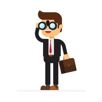 Empresário, olhando através de binóculos à procura de um emprego