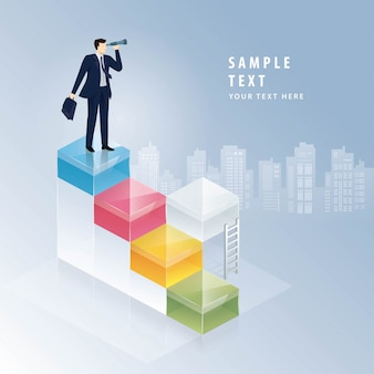 Empresário, olhando através de binóculos, conceitos de visão de negócios