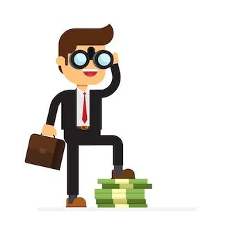 Empresário, olhando através de binóculos e está no dinheiro