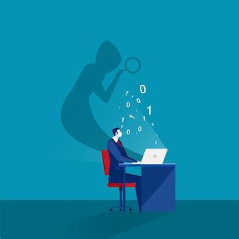 Empresário, olhando no computador portátil com máscara de sombra, roubar senhas e conceito de segurança de computador de login