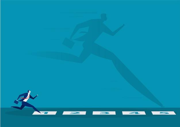 Empresário olhando para ele sombra correndo sobre cada etapa do conceito de corrida