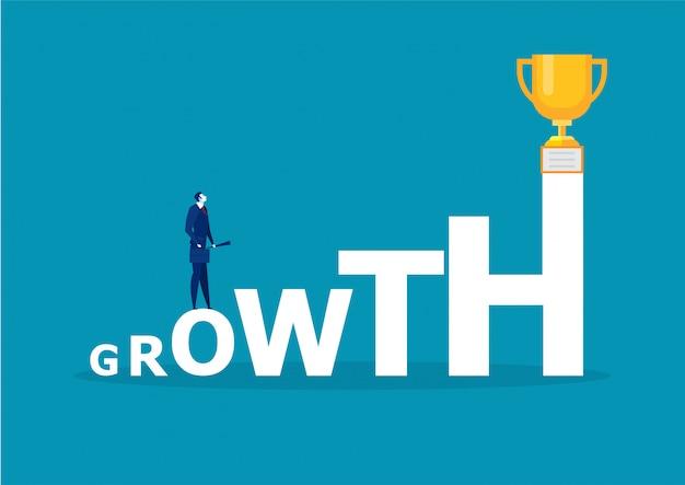 Empresário olhando para o prêmio com a palavra vetor de conceito de sucesso de crescimento