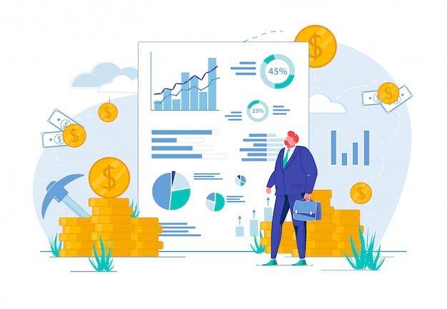 Empresário, olhando para o relatório com gráficos, gráficos.