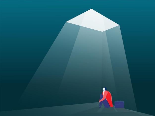 Empresário olhando para uma ilustração do conceito de solução de escada Vetor Premium