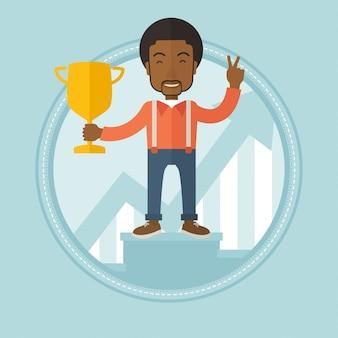 Empresário orgulhoso de seu prêmio de negócios