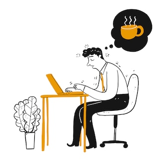 Empresário ou funcionário com sono