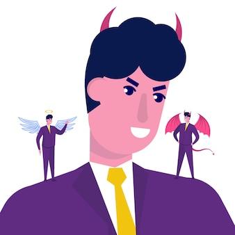 Empresário ouvindo demônio e anjo