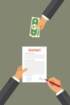 Empresário pagar pela ilustração do contrato