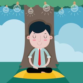 Empresário para meditação relaxa para boa ideia