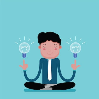 Empresário para meditação relaxa para uma boa ideia