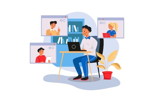 Empresário participando de videochamada